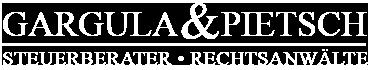 Logo Gargula und Pietsch in weißer Farbe
